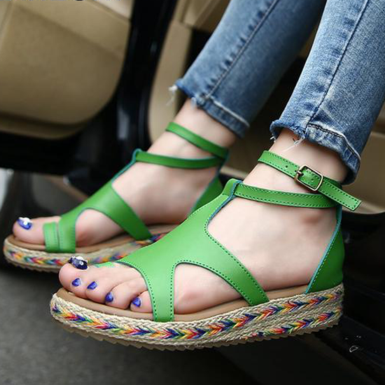 d7200d66a38 Sandals-Women s Straw Ankle Strap Wedge Sandals – styleNB