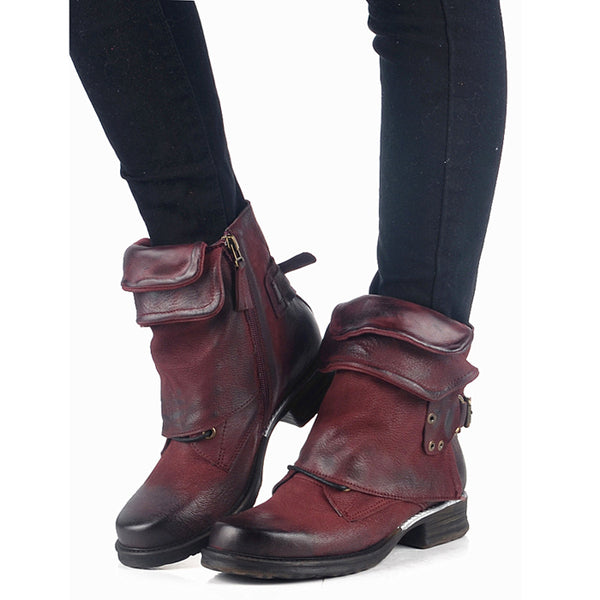 Women S Shoes Women Vintage Buckle Rivets Ankle Motorcycle Boots