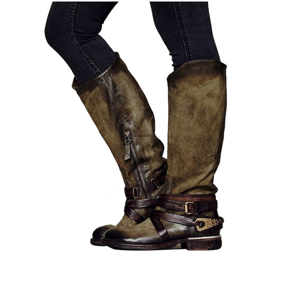 Boots Women S Vintage Rome Knee High Brushed Color Motorcycle Boots