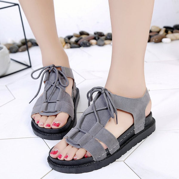 9dd467dbcdf Woman Open Toe Thick Bottom Lace-up Sandals