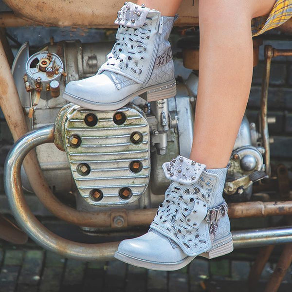 e83d10e2cac6 Women s Shoes - Women Rhinestone Zipper Rivet Buckle Ankle Boots