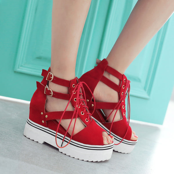 9c99af08e6e Women s Height Increasing Wedges Thick Crust Muffin Sandals – styleNB