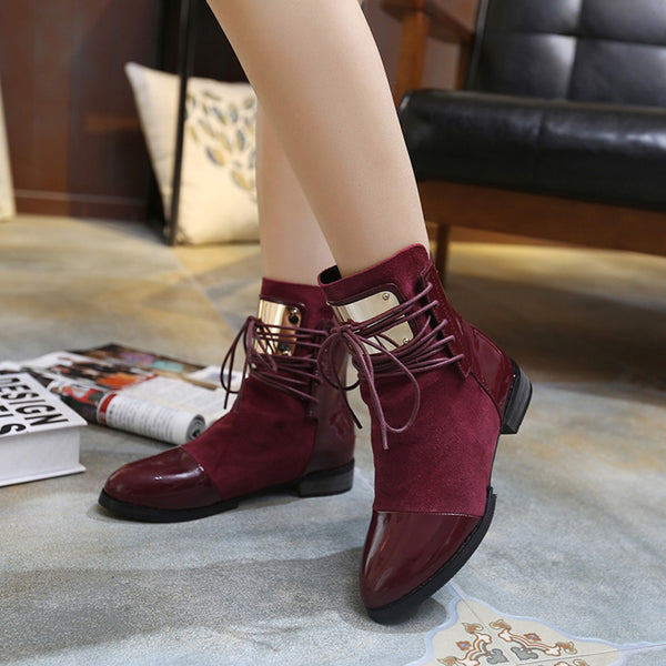 2df3499de2746 Women Genuine Leather Flat Martin Ankle Lace-Up Boots – styleNB