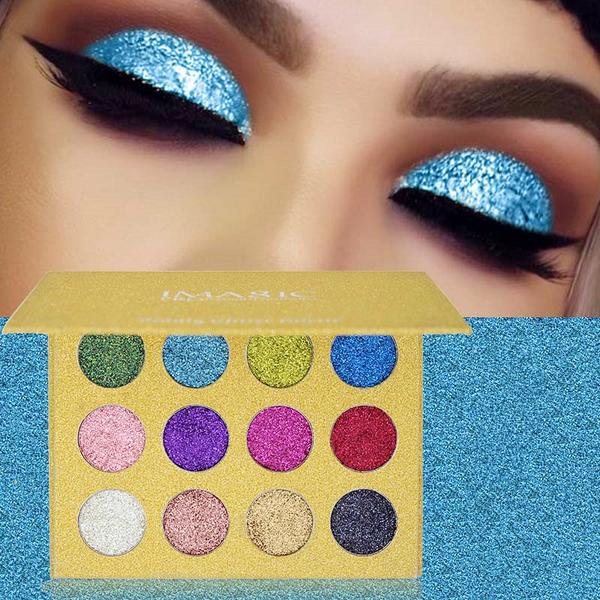 Beauty & Health-12 Colors Glitter Diamond Rainbow Eyeshadow