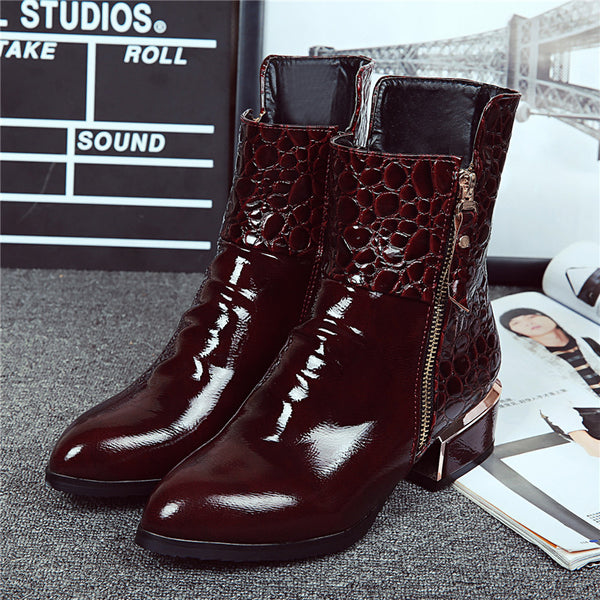 f83479ec1e1 Boots-Women's Pointed Toe Patent Leather Ankle Boots
