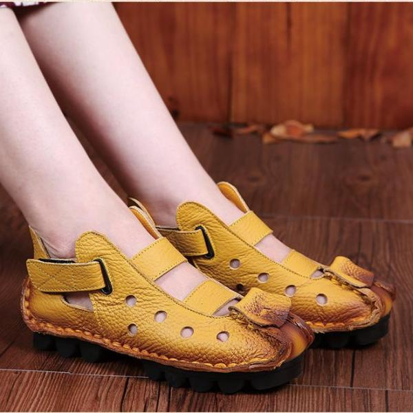 2018 New Woman's Summer Unique Soft Bottom Flat Genuine Leather Personality Leisure Retro Handmade Sandals