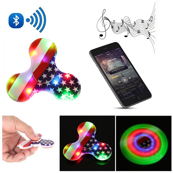 2018 New Fidget Spinner LED Bluetooth Speaker Decompression Finger Toys