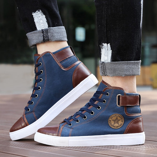 Shoes-Men's Causal Front Leather Sneakers