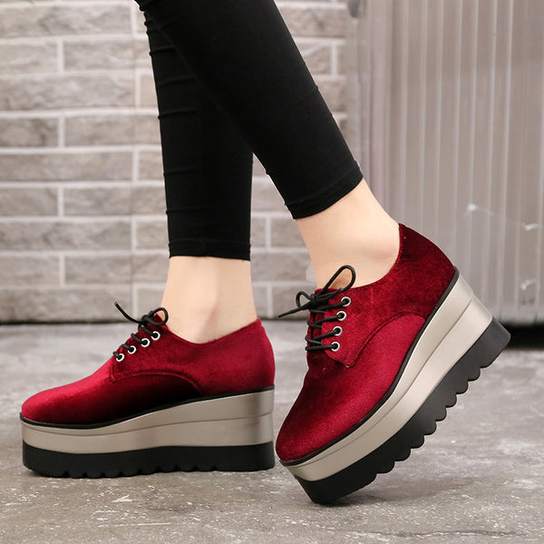 a2c9632e2a Women's Shoes - Women's Casual Flock Lace-Up Oxfords Platform Shoes ...