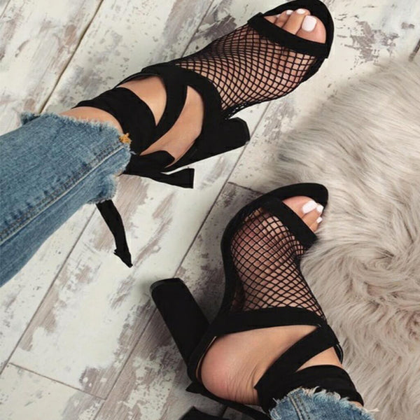 2018 New Women's Sexy Bandage High Heel Thick With Sandal