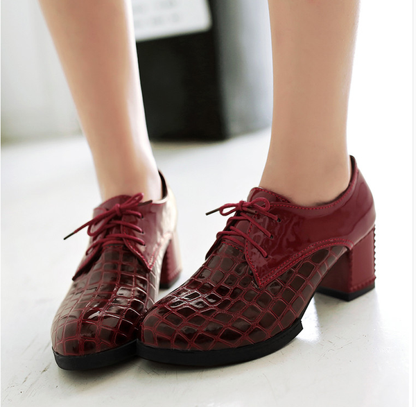fb330939ee3 Shoes- Women s Vintage Lace Up Chunky Heel Pumps Round Toe Rubber Sole High  Heels
