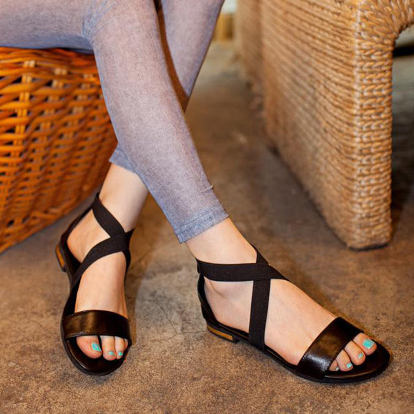 18c72d1a534 Sandals-Women s Genuine Leather Cross-Tied Sandals – styleNB