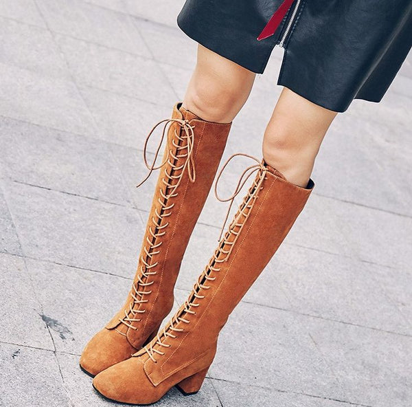 2165ca11c0f2 Boots-Women s Sexy Solid Elastic Slim Lace Up Knee High Boots – styleNB