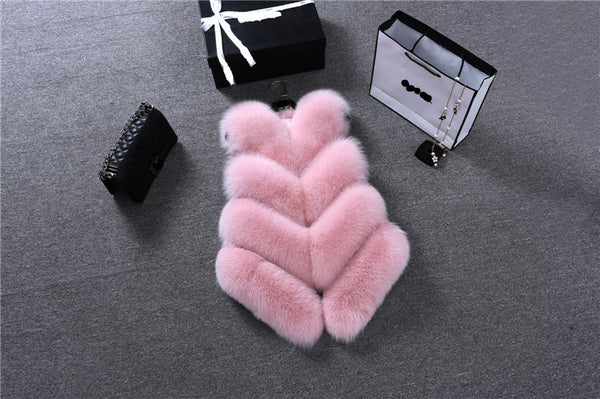 2018 New Women Short Faux Fur Vest Coats