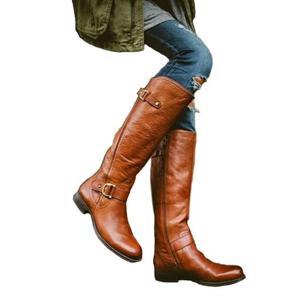 a983bcd47b5 Womens Square Low Heel Riding Motorcycle Heel Knee High Boots – styleNB
