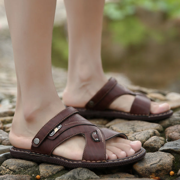 Men Leather Outdoor Beach Breathable Rubber Flip Flops