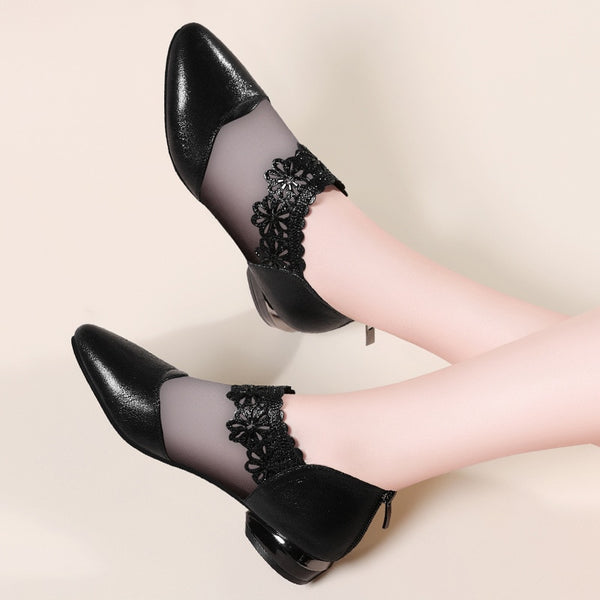 Pointed Elegant Black Lace Mesh Ankle Low Heel Zipper Casual Sandals