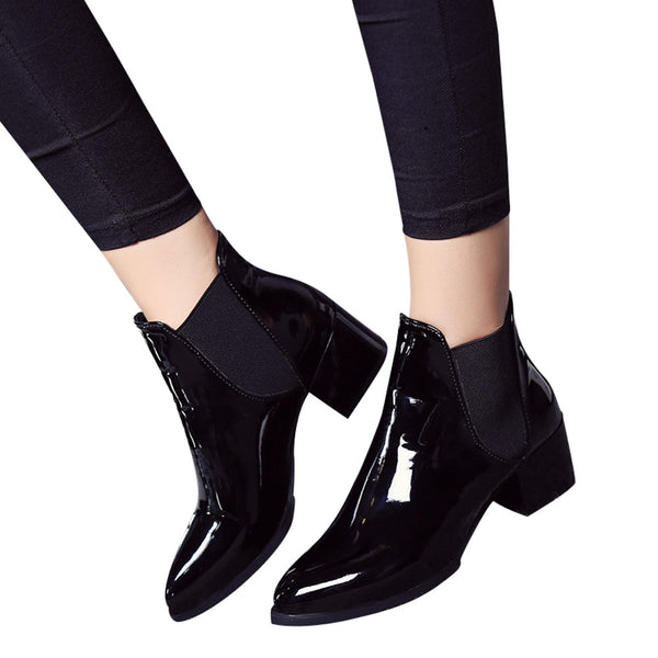 New Arrival Fashion Shoes Women Boots  Pointed Low Heel Boots Female Sexy Shoes