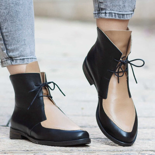 Ankle Boots Women Platform Lace Up Buckle Shoes  Ladies Casual Footwear Plus Size