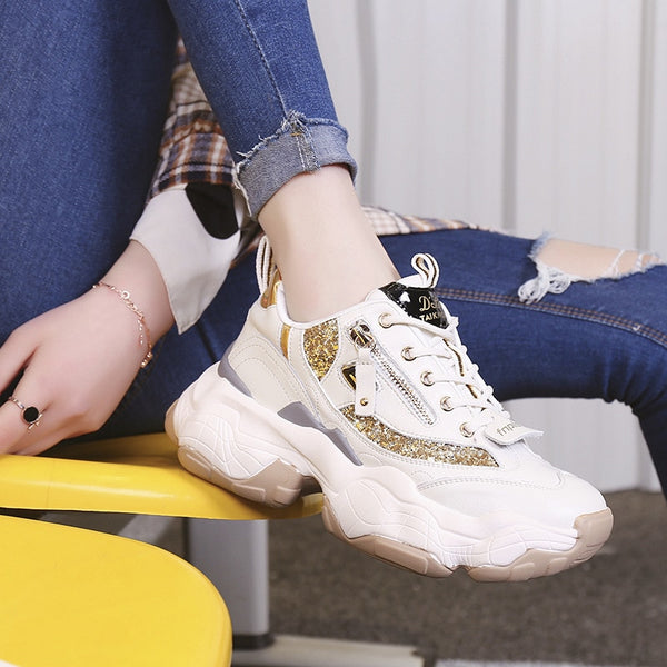New zipper Glitter Gold platform women's sports shoes