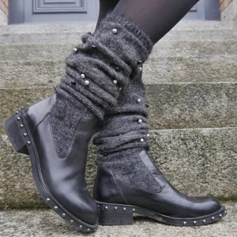 Classic Tassel Sock Boots Sexy Female  Winter Lady Flat Heels Comfortable Shoe