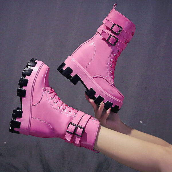 Women's Mid-Calf Boots Fashion Candy Color Patent Leather Shoes