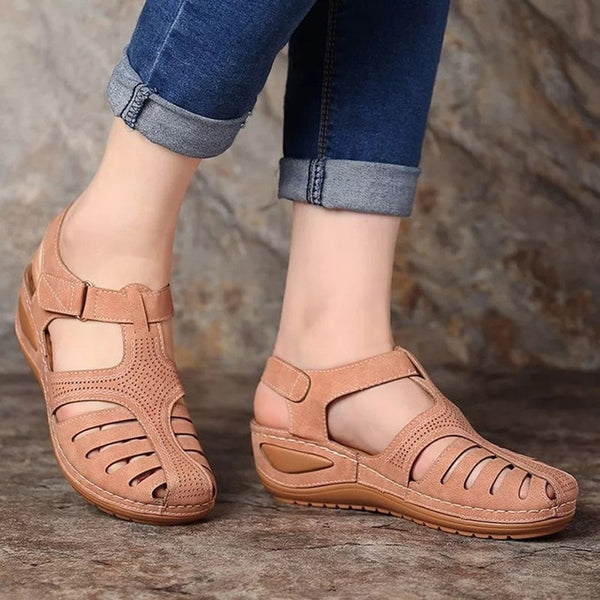 Women's Retro Wedge Comfortable Ankle Hollow Round Toe Sandals
