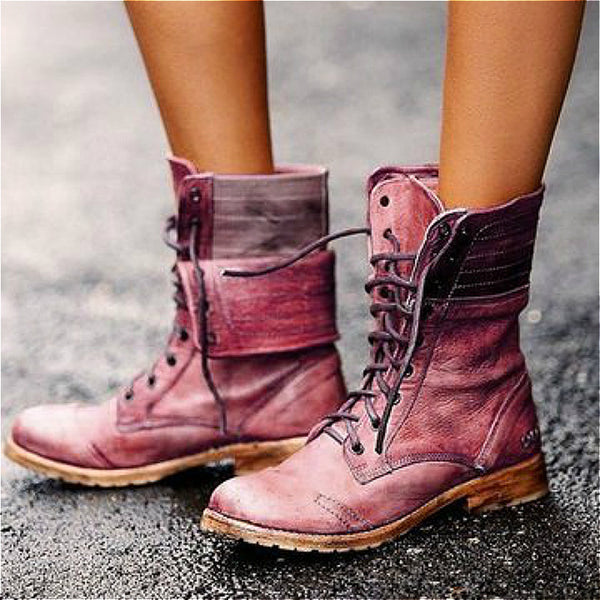 Woman High Heels Autumn Winter Female Mid-calf Boots Lace-up Plus Size Vintage Women Booties