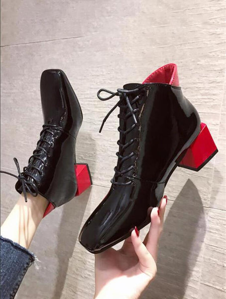 Ankle Boots Women Shoes Woman Boots Fashion High-heeled Color Patent Leather Boots 2019 Autumn New Short Plush Warm Boots B07
