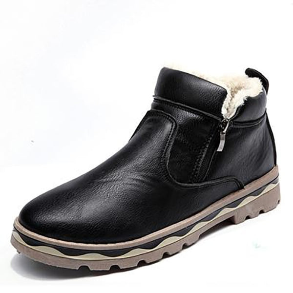 Men Fur Cotton Ankle Boots Casual Plush Leather Super Warm Snow Boots