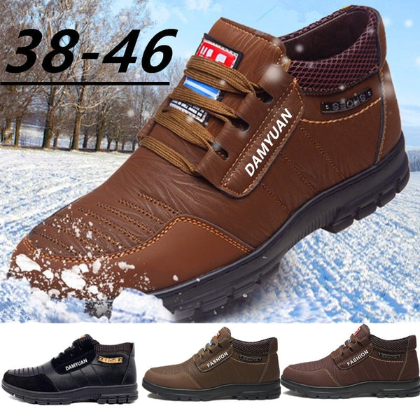 Hot Fur Men's Casual Shoes Warm Flats British Style Leather Footwear Comfort Non-slip Winter Boots
