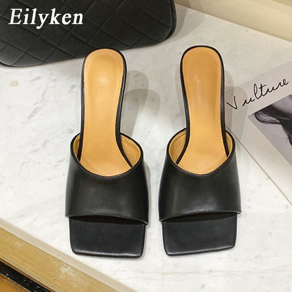 2020 New Soft Leather Square Toe High Heel Party Dress Slippers