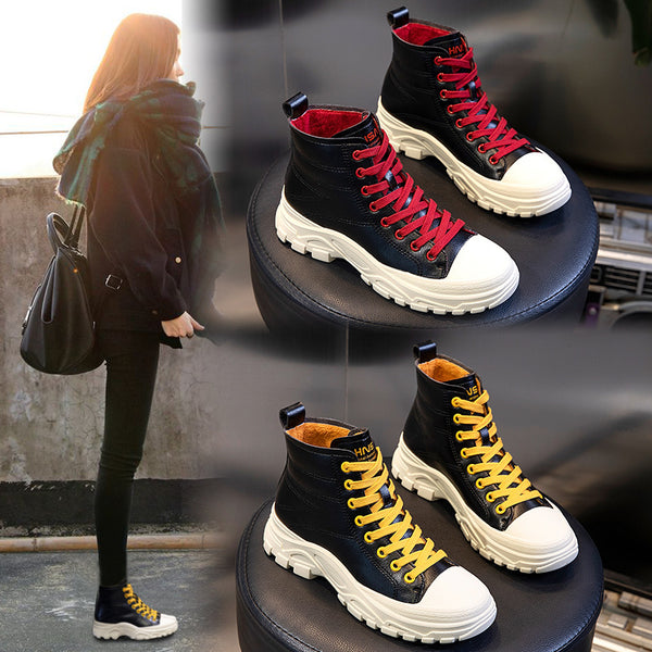 2020 autumn winter new casual women's boots Platform lace-up short boots Plush Shoes