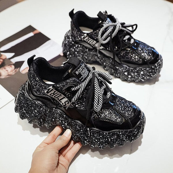 Fashion Chunky Sneakers Women Casual Shoes Bling Platform Shoes