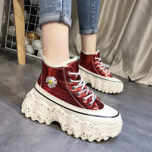 Shiny High Top Platform Sneakers Women Non Slip Thick Sole Sneakers Women Dad Shoes