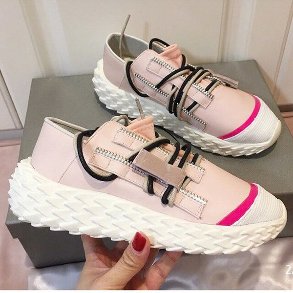 Breathable casual shoes flat lace women sneakers