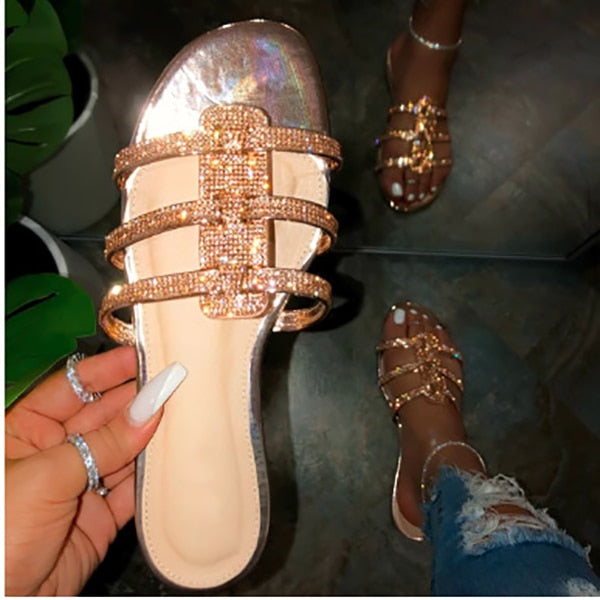 Fashion Sexy Sequins Surround Roman Style Beach Slippers