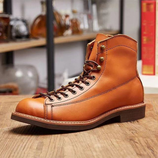 men's winter autumn leather gladiator booties