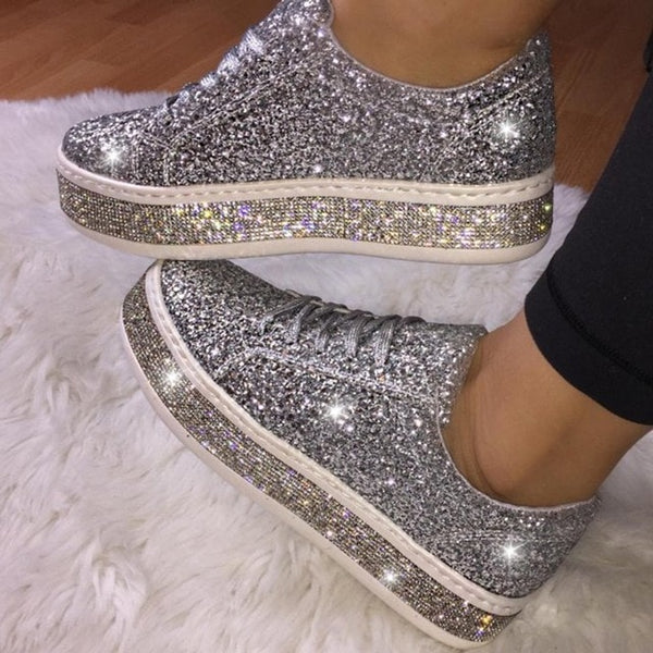 Women Vintage Rhinestone Sequin Platform Lace Up Sneaker
