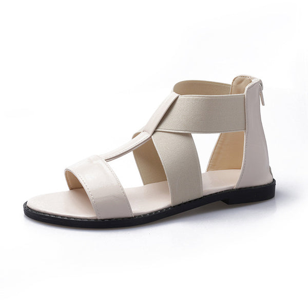 Gladiator Sandals Women Flat Low Heel Platform Summer Peep Toe Casual Hollow Beach Shoes