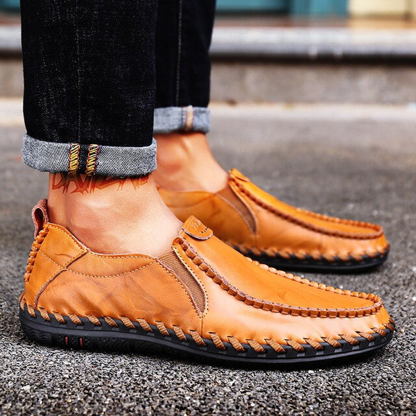 2020 New Men's Boat Footwear Fashion Genuine Leather Loafers Breathable Casual Shoes