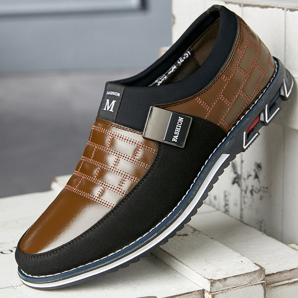 2020 Men Leather Casual Loafers Breathable Slip Mocasines