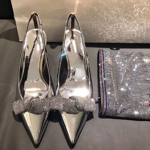 Rhinestone Stiletto High Heel Cross Bow Banquet Patent Leather Sandals