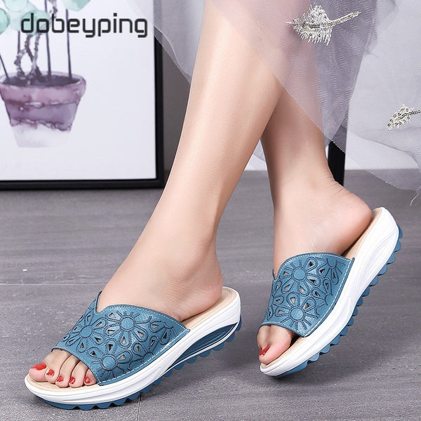 2020 Cut Outs Wedges Leather Open Toe Beach Slipper