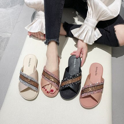 2020 summer cross sequins fashion wearing non-slip retro seaside ins tide beach shoes