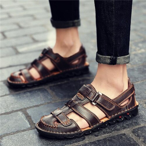 New leather sandals men's casual open toe summer shoes
