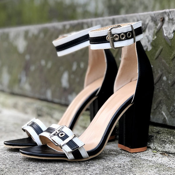 Women Ankle Strap High Heels Leather Chunky Heel Sandals
