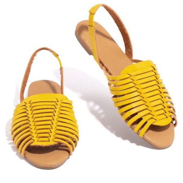New PU Leather Sandals Women Slingbacks Peep Toe Flat Sandals