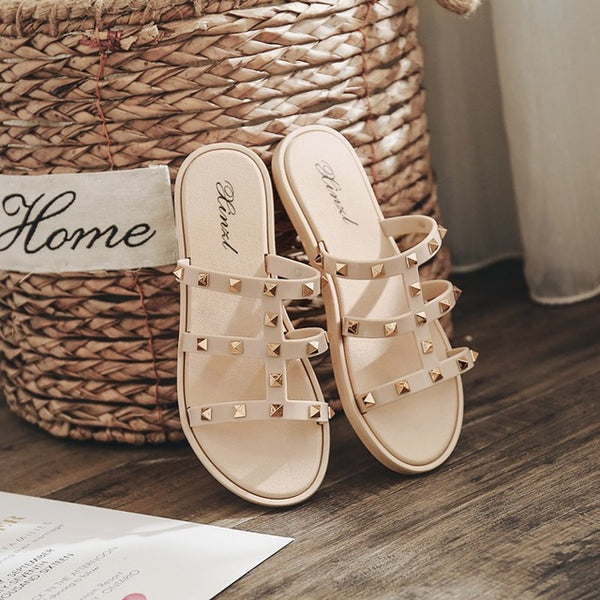 2020 Women Rivet Elegant Flat Beach Slipper