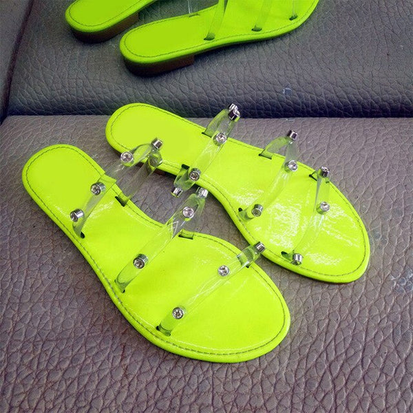 Women Crystal Transparent Candy Colors Rivet Flat Beach Slippers